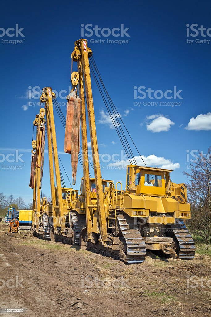 Machinery on the pipeline construction royalty-free stock photo