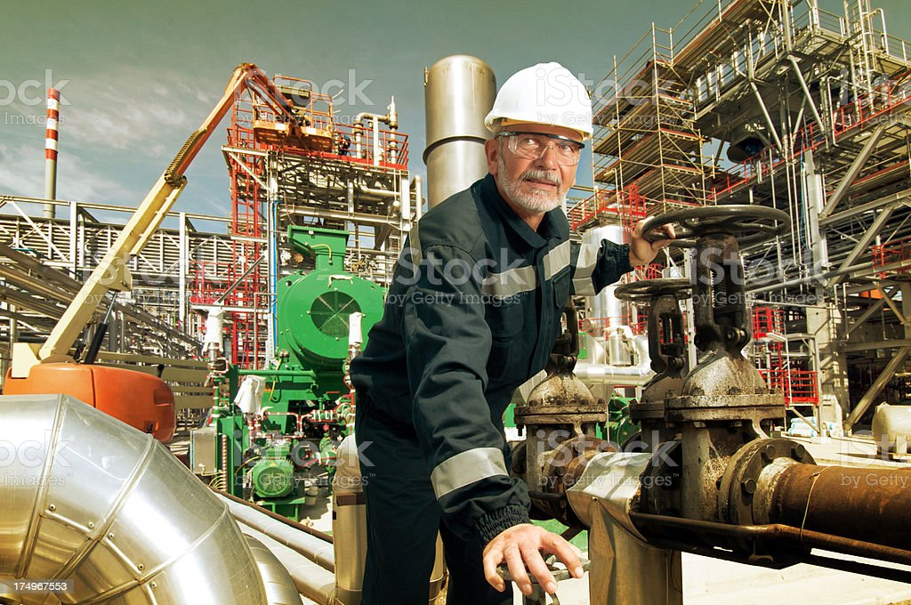 machines, engineer and oil industry stock photo