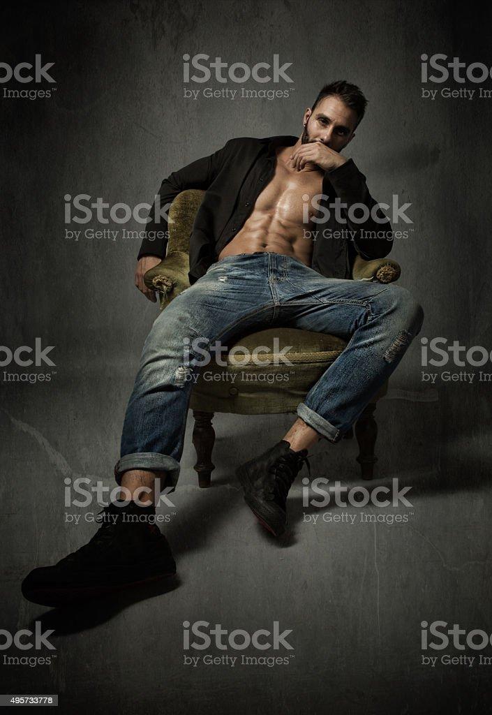 macho man portrait stock photo