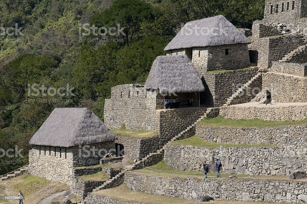 Ruines de Machu Picchu maisons photo libre de droits