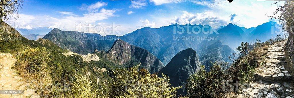 Machu Picchu Inca Trail Panoramic in Peru stock photo