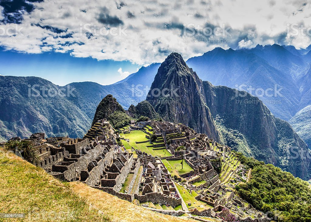 Machu Picchu Lost city of Inkas, new world wonder stock photo