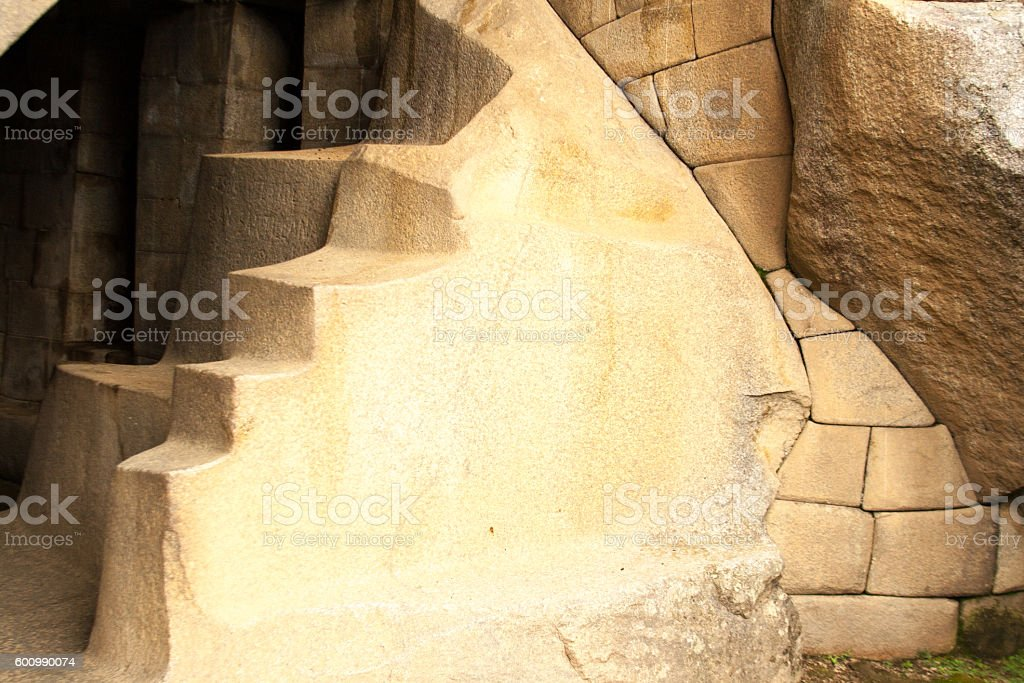 Machu Picchu, Peru: Beautiful Inca Stone Wall and Steps stock photo