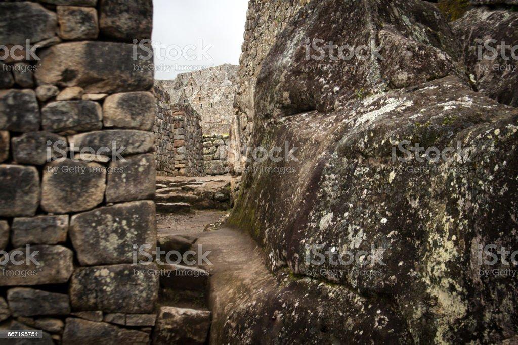 Machu Picchu, Peru: Stone Walls and Staircase (Close-Up) stock photo