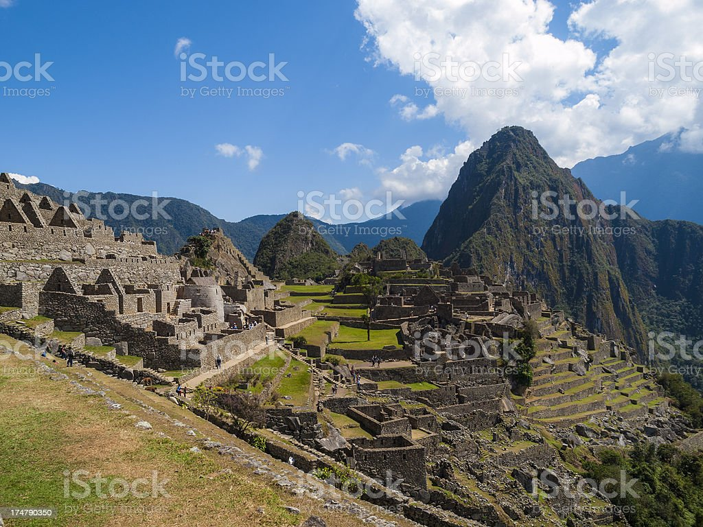 Machu Picchu Peru -view  over the historic ruins stock photo