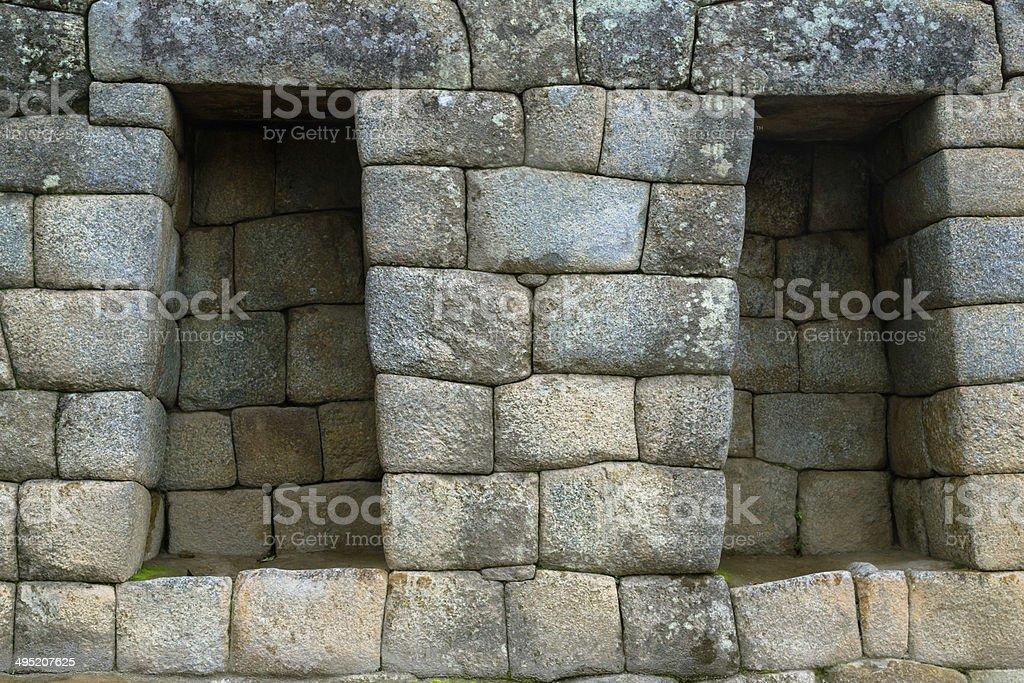 Machu Picchu Stone Wall stock photo