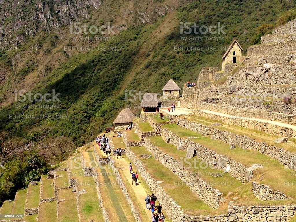 Machu Picchu-Agricultural Terraces and Watchman Huts stock photo