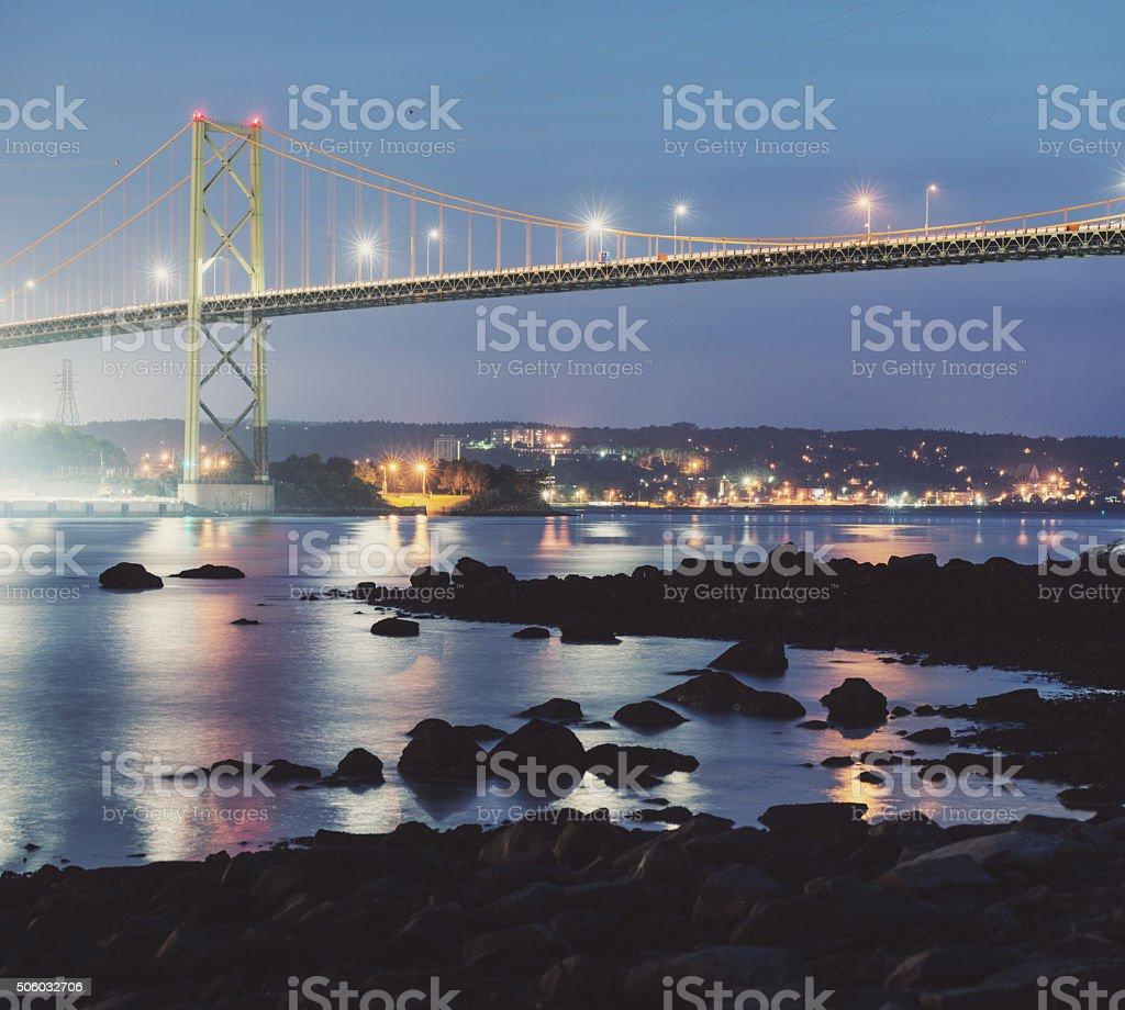 MacKay Bridge Twilight stock photo