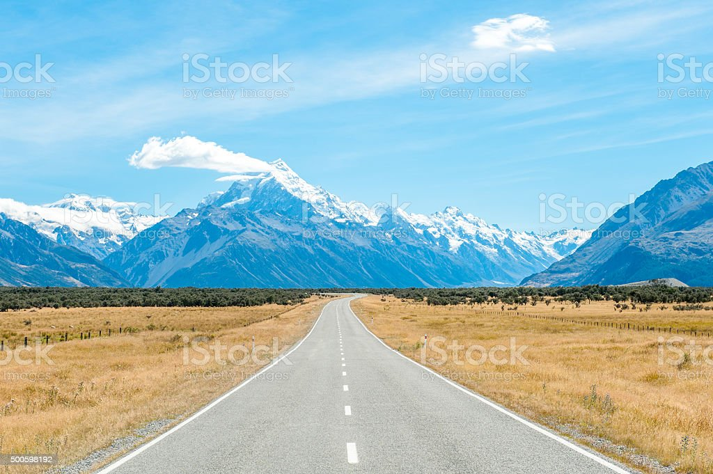 Mackenzie country and Mount Cook, New Zealand stock photo
