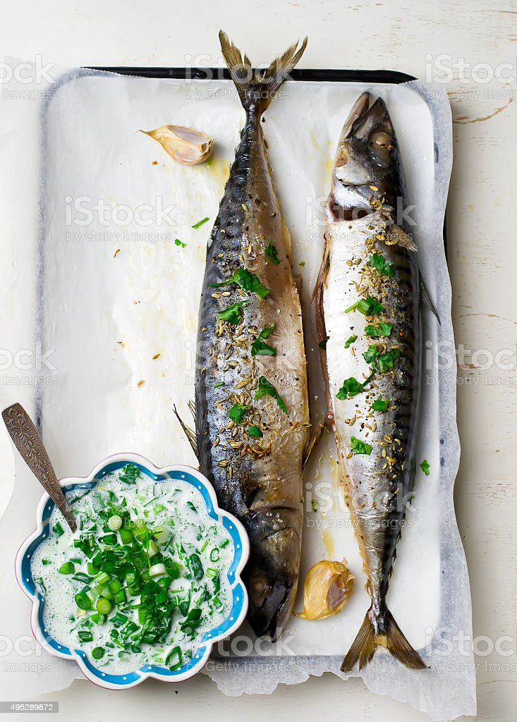 mackerel - a grill with sauce stock photo