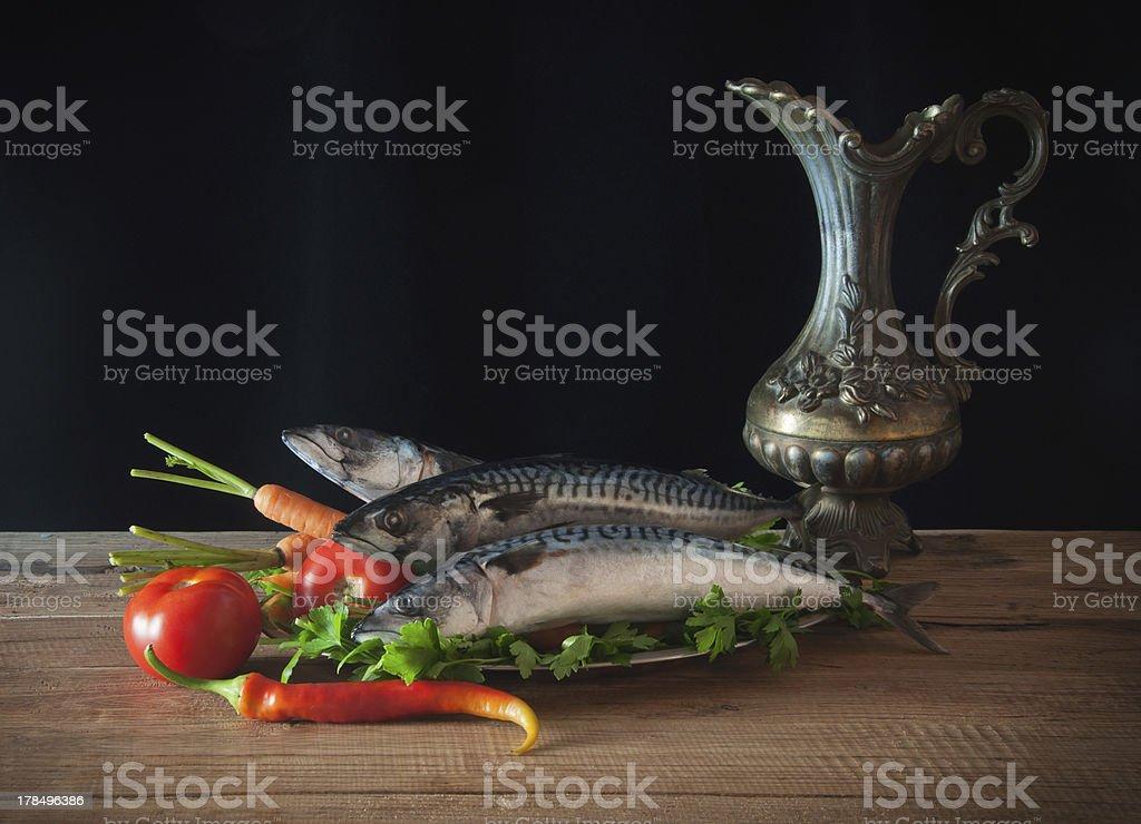 Mackerel and vegetables royalty-free stock photo