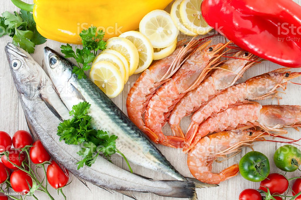 Mackerel, Codfish And Prawns stock photo
