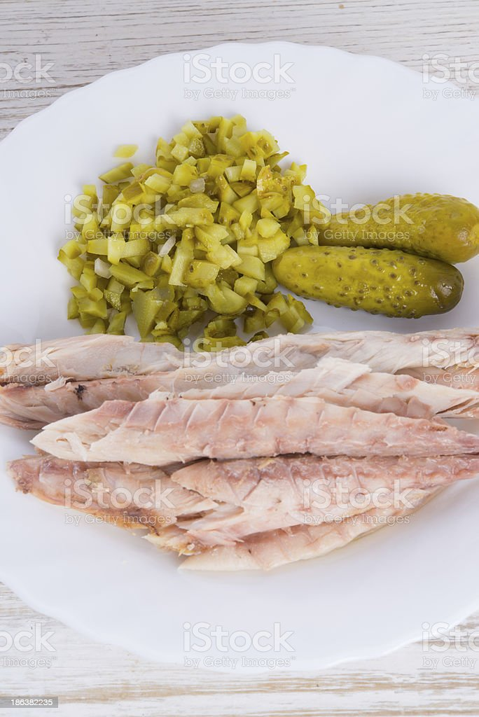 mackerel fillet with salad stock photo