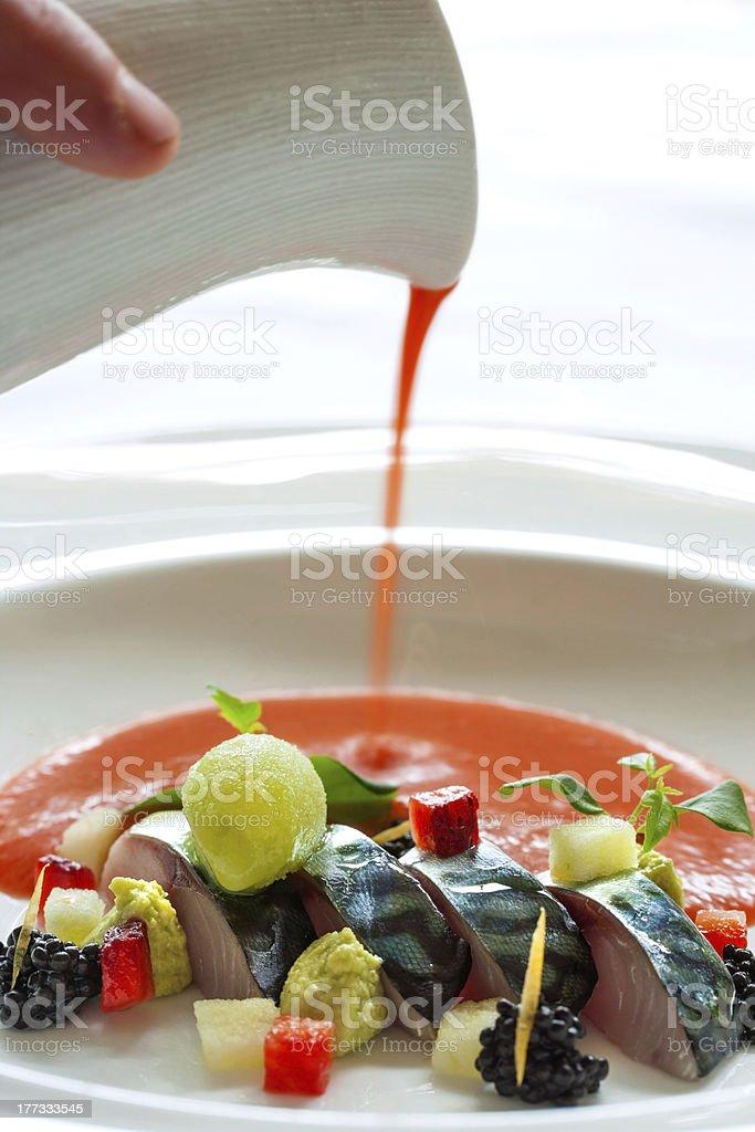 Maquereau de poissons et fruits de mer Sauce. photo libre de droits