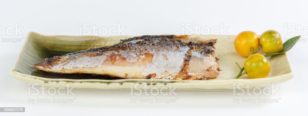 mackerel on a plate stock photo