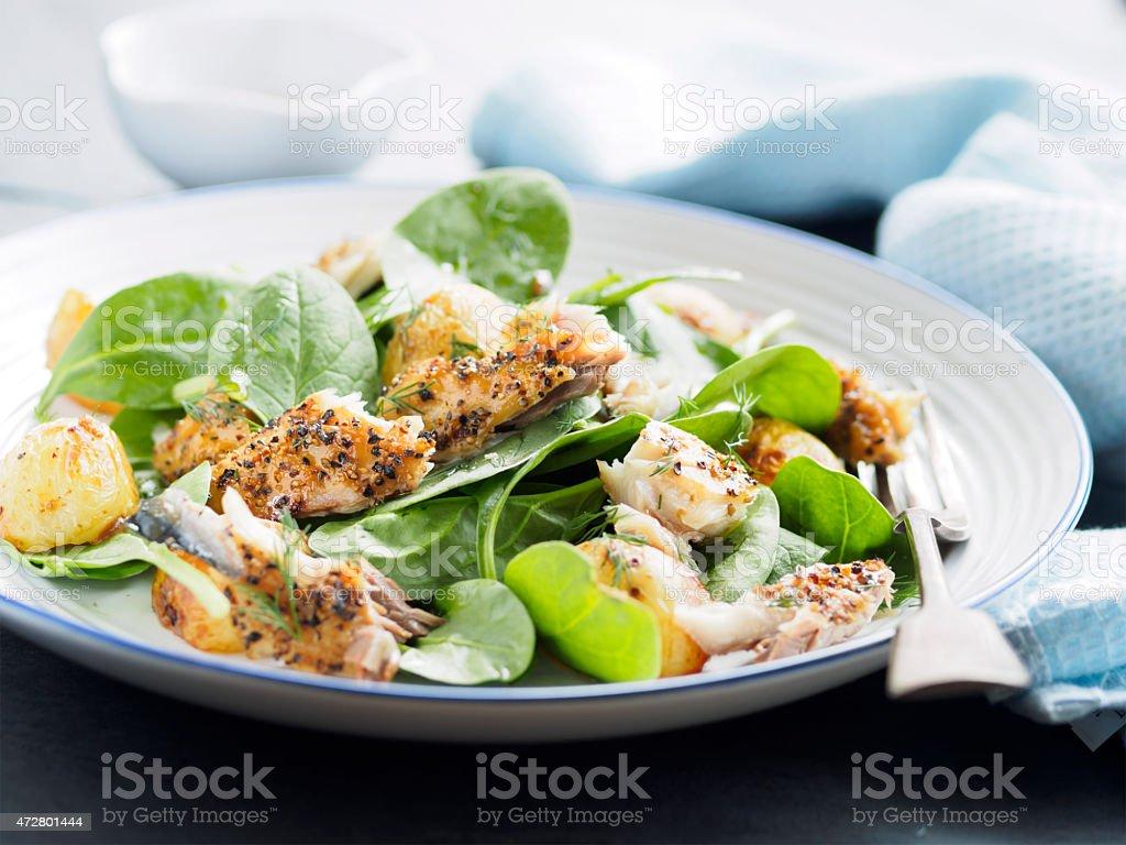 mackerel,spinach and potato salad stock photo