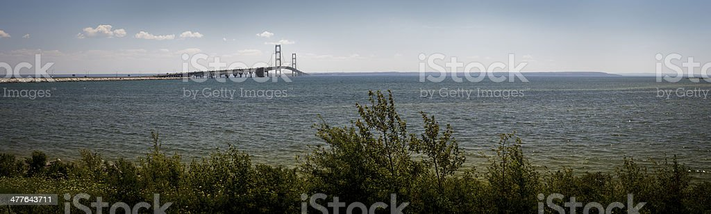 Mackinac Bridge and the Straits Mackinac stock photo