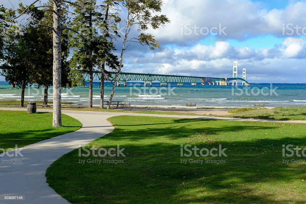 Mackinac Bridge and Walkway stock photo