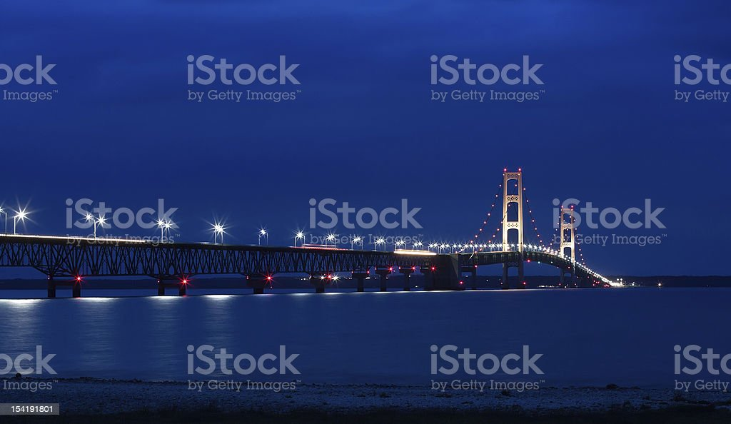 Mackinac Bridge at Night stock photo
