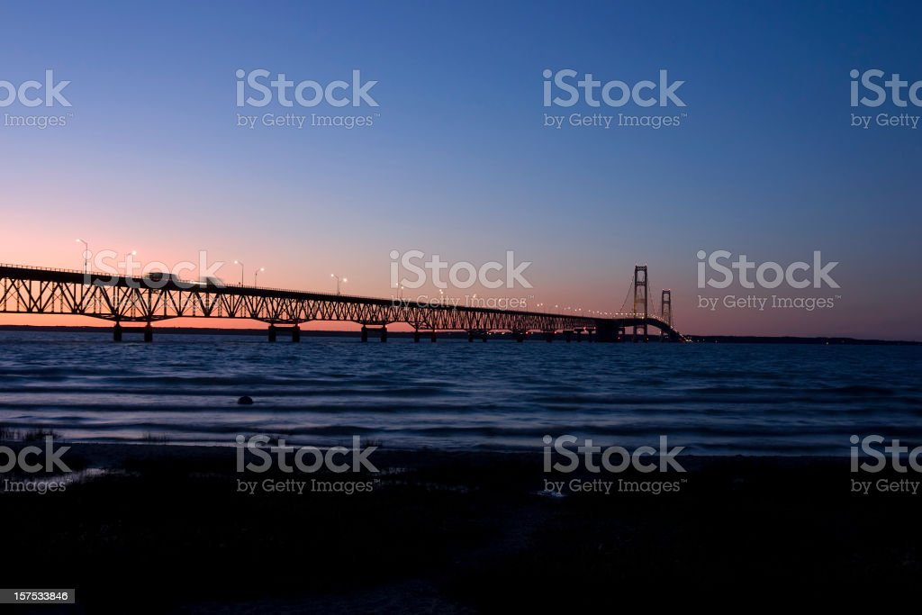 Mackinac Bridge at sunset stock photo