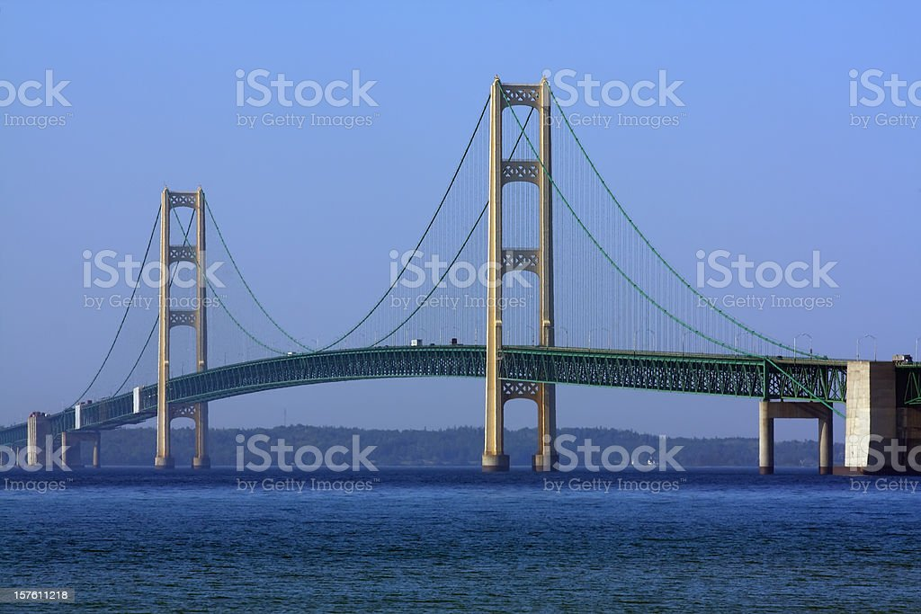 Mackinac Bridge in MIchigan stock photo