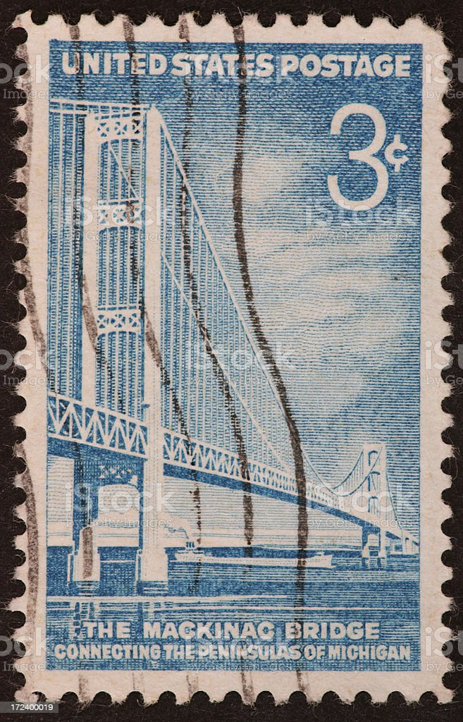 Mackinac Bridge stamp 1957 stock photo