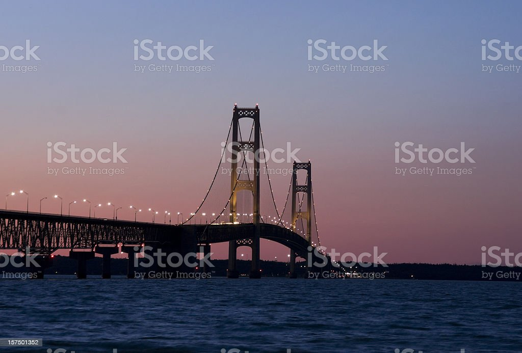 Mackinac Bridge Sunset stock photo