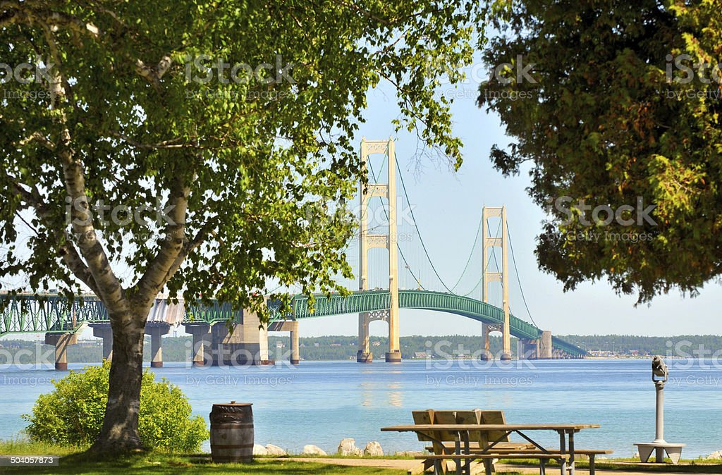 Mackinac Bridge thru trees stock photo