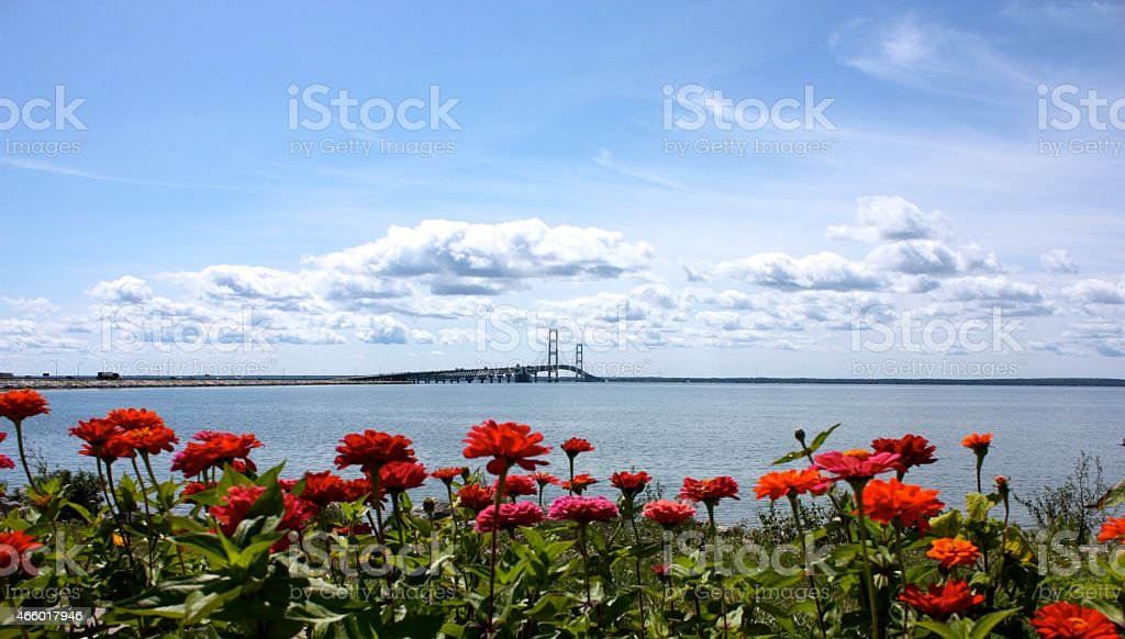 Mackinac Island Bridge in the Spring stock photo