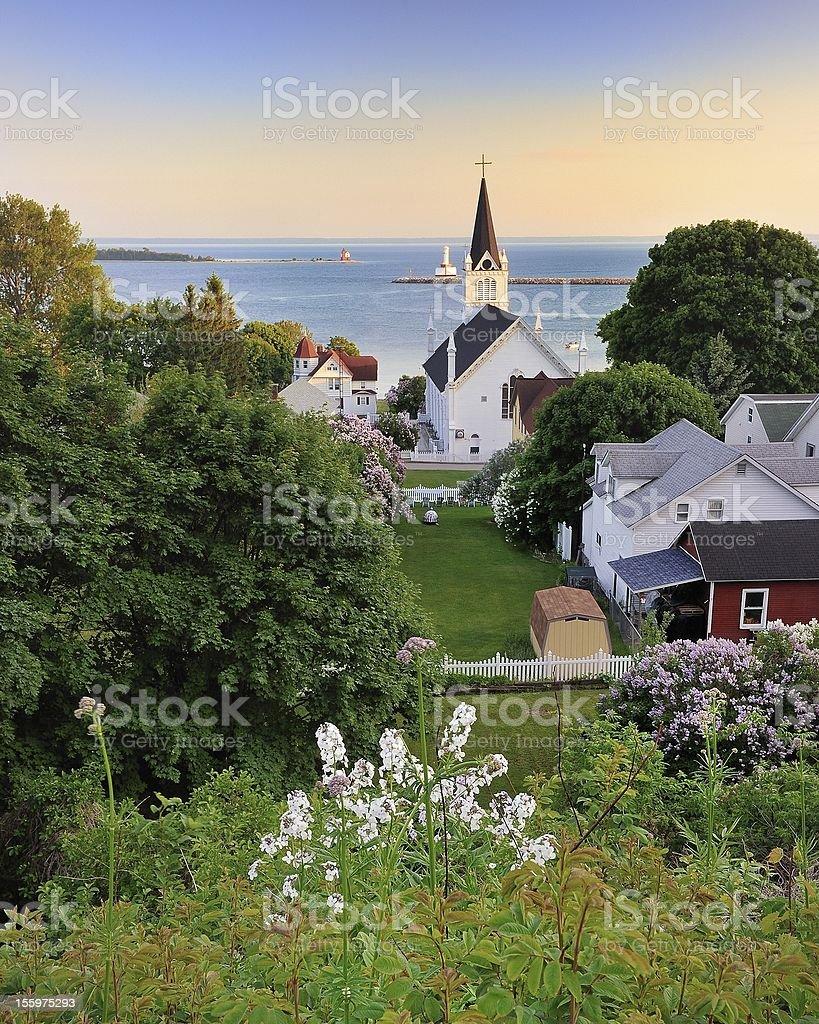 Mackinac Island Harbor Sunset stock photo