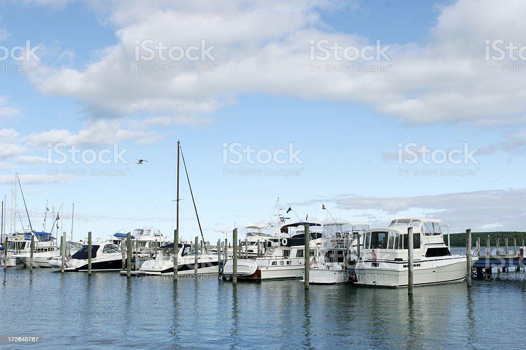 Mackinac Island marina stock photo
