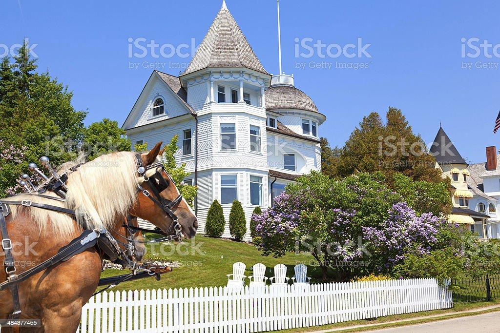 Mackinac Island West Bluff Victorian Cottage stock photo