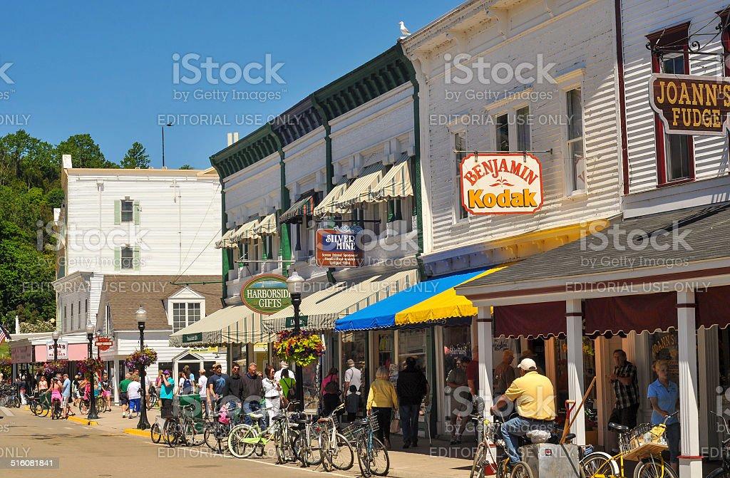 Mackinac Main Street stock photo