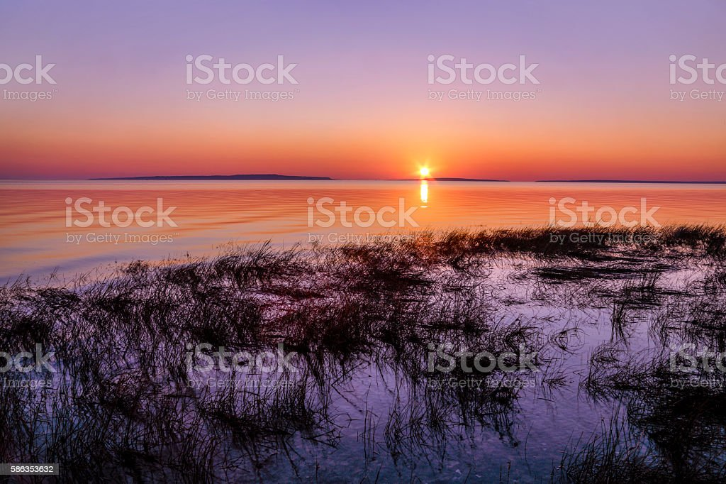Mackinac Straits Sunrise stock photo