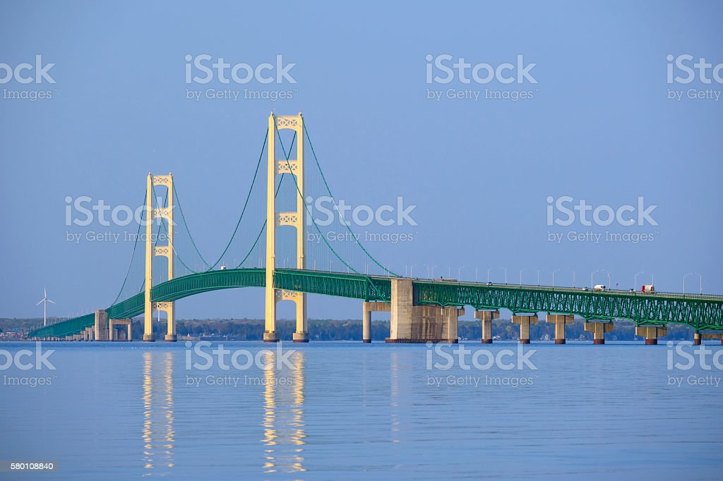 Mackinac suspension bridge stock photo