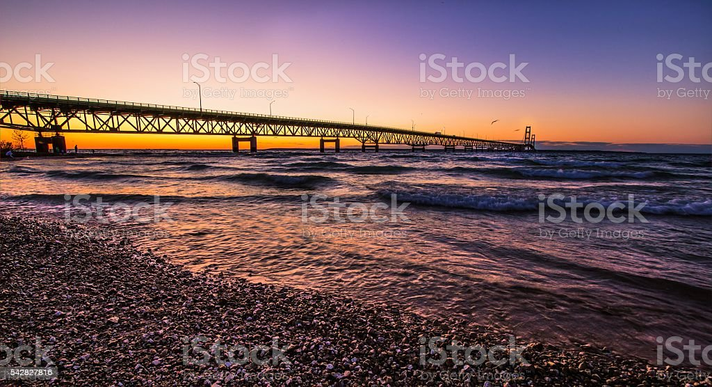Mackinaw Bridge Michigan Sunset stock photo