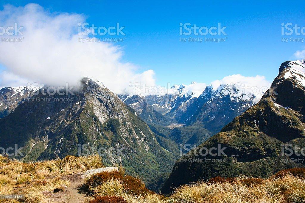 Mackinnon Pass, Milford Track, New Zealand stock photo