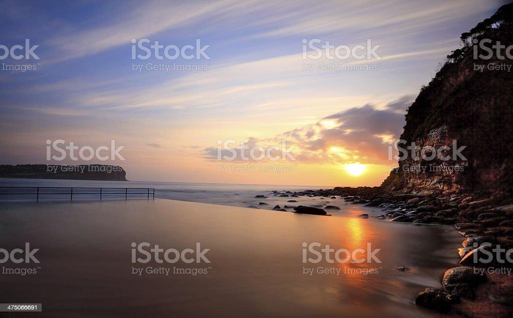 Macmasters Beach sunrise from ocean pool royalty-free stock photo
