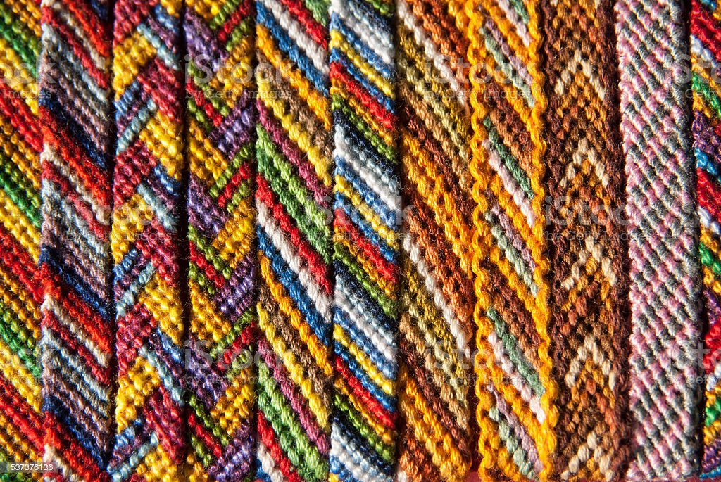 Macrame braclets collection - close up stock photo