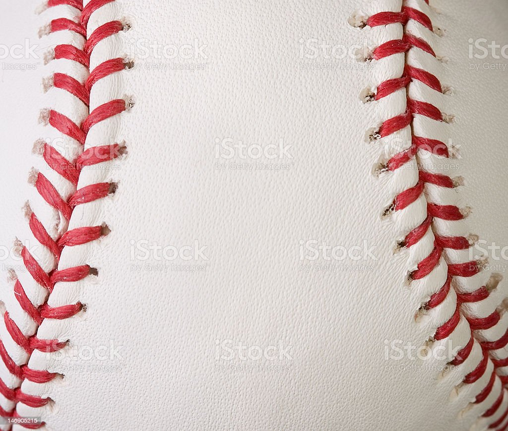 Macro baseball seams stock photo