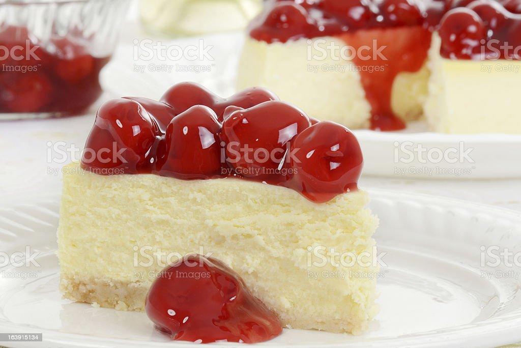 Macro cherry cheesecake stock photo