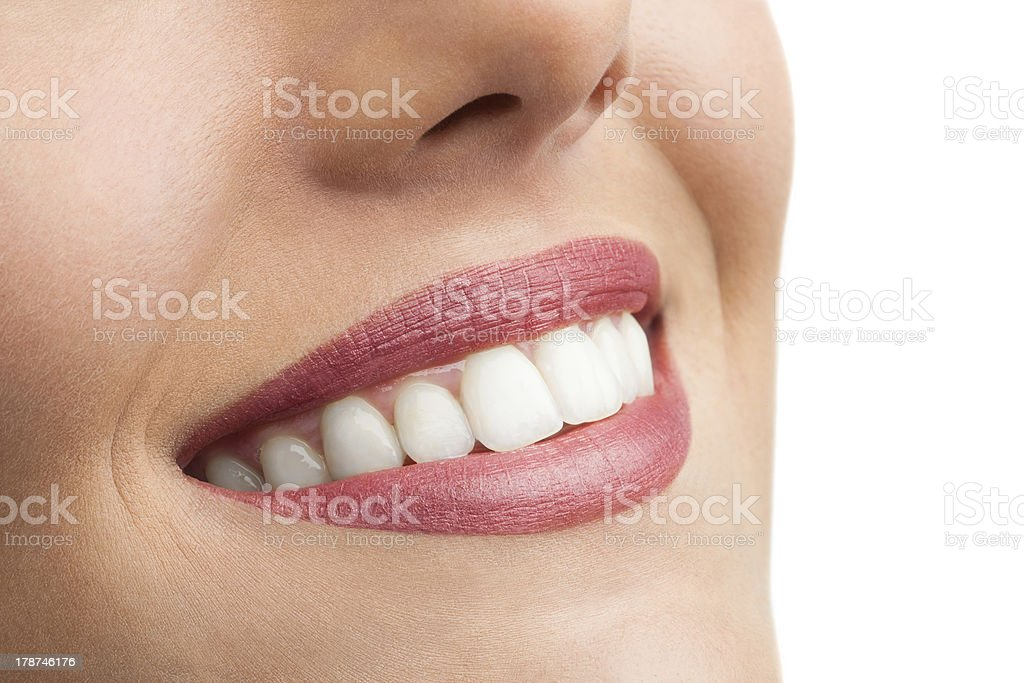 Macro close up of perfect teeth. stock photo