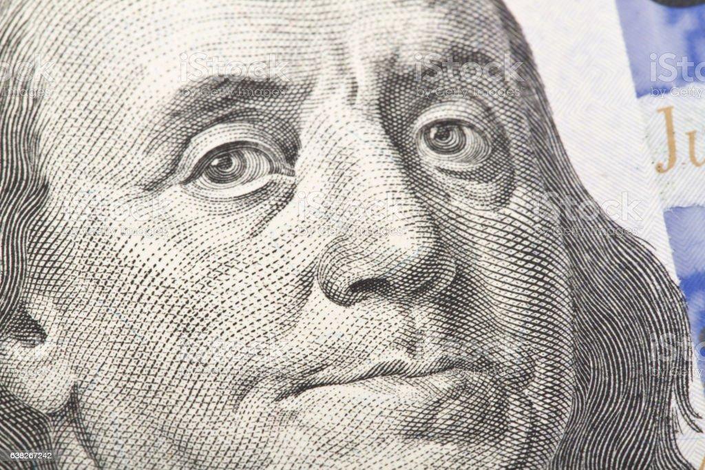Macro close up of the US dollar bill. stock photo