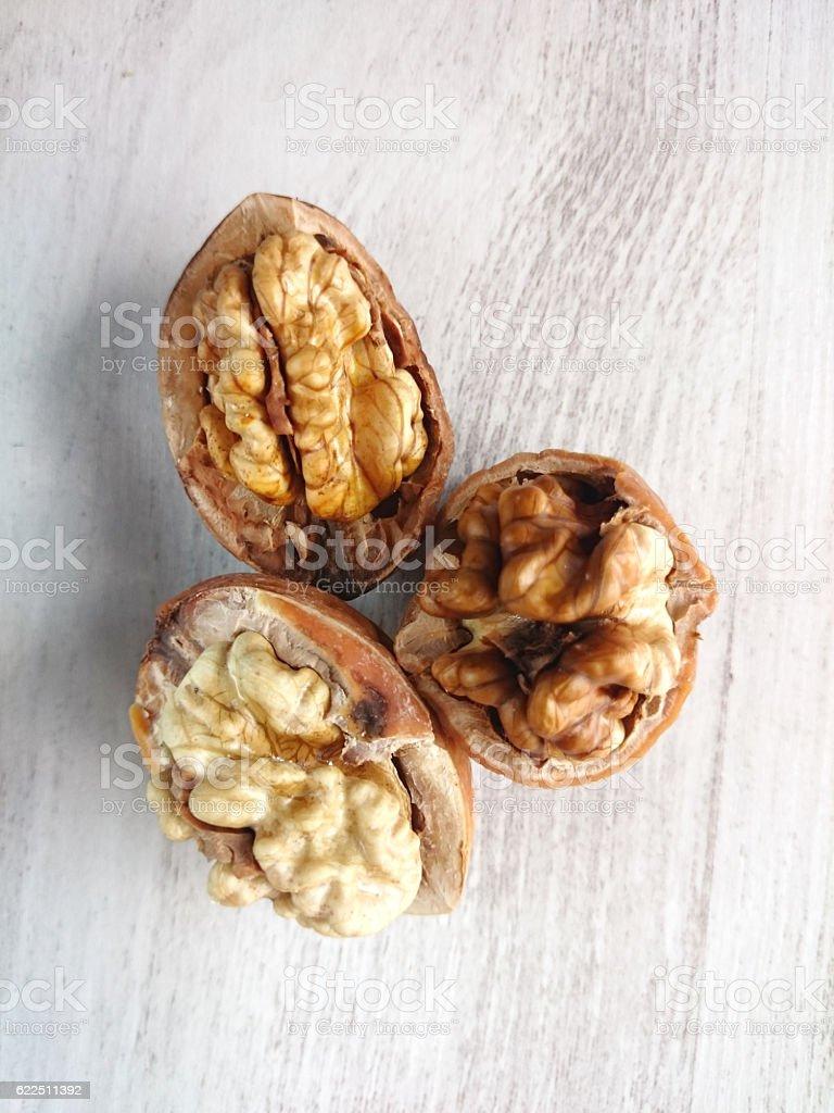 Macro close up of walnuts stock photo