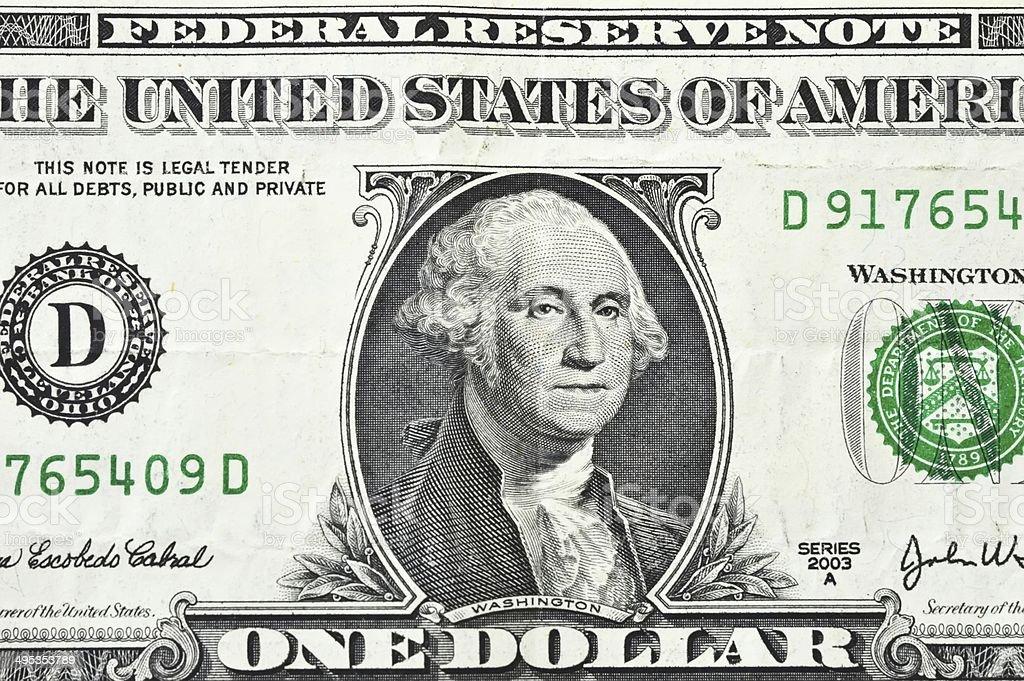 macro close up shot with one dollar bill 1$ stock photo