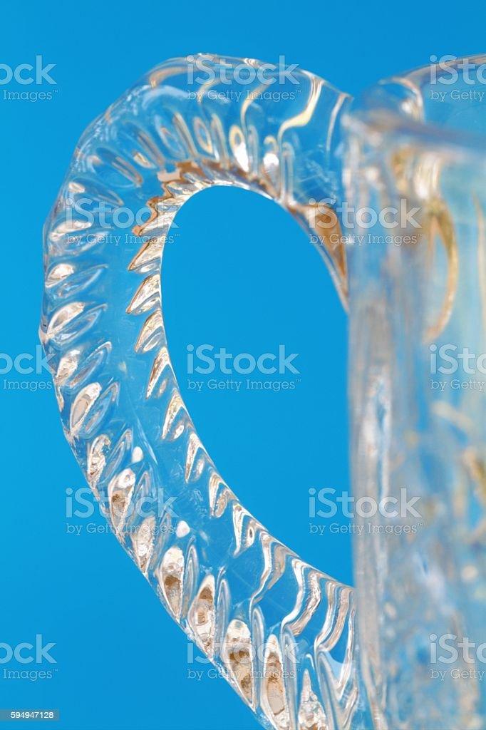 Macro closeup of crystal glass handle on sugar bowl stock photo