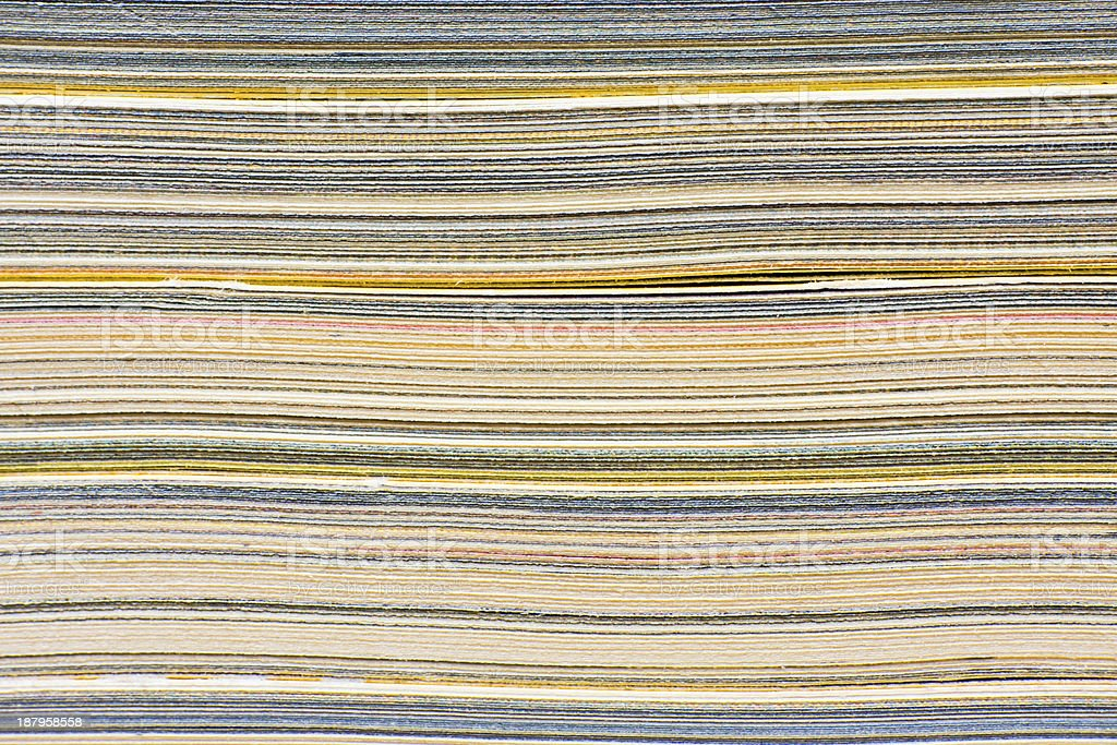 Macro closeup of pages in stack magazine, cardboard or cardstock. royalty-free stock photo