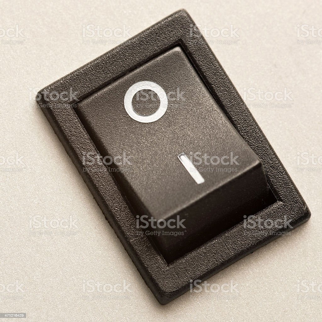Macro close-up of power switch button on computer backside royalty-free stock photo