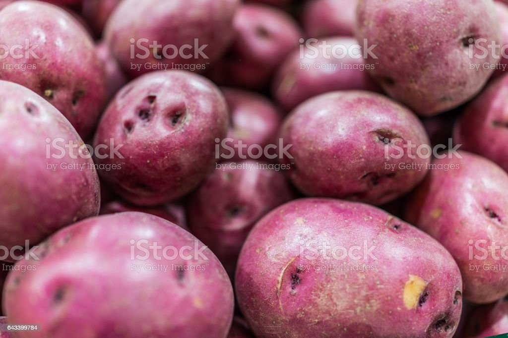 Macro closeup of red potatoes showing texture stock photo