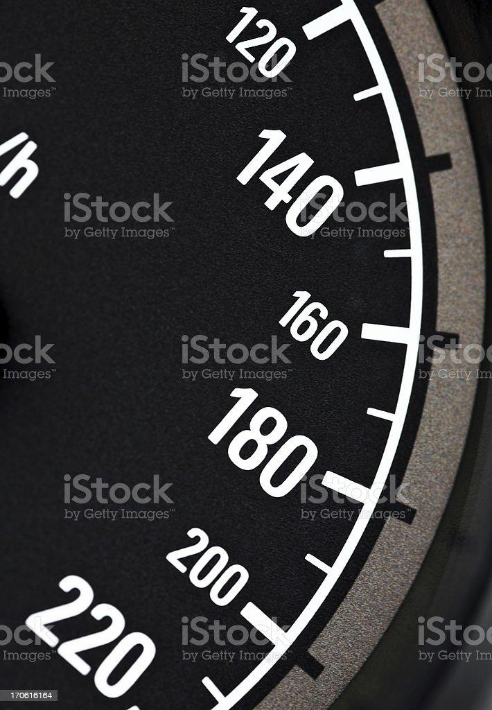 Macro close-up of speedometer, range from 120 to 220 km/h stock photo